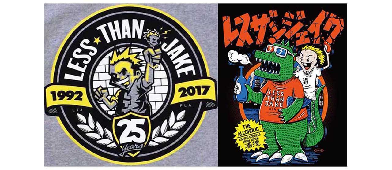 【LESS THAN JAKE ツアーTシャツ最終入荷】大好評で売り切れたツアーTシャツが、メンバーの好意により25周年記念Tシャツと共にWEB限定入荷!
