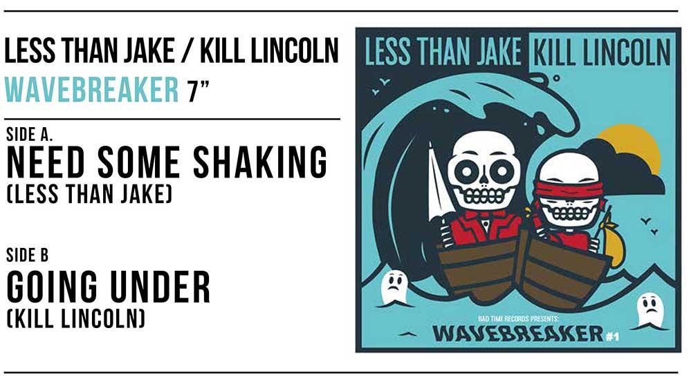 「LESS THAN JAKE」と「KILL LINCOLN」によるスプリット7インチの2ndプレス3色が入荷!!